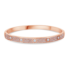 Love Bangle with Crystals in Rose Gold Plating