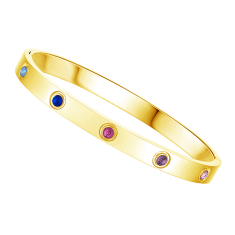 Love Bangle in Yellow Gold Plating with Multi Coloured Crystals