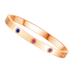 Love Bangle in Rose Gold Plating with Multi Coloured Crystals