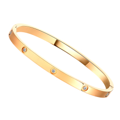 Love bangle small with crystals in rose gold plating