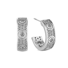Love Earring with crystals in rhodium plating