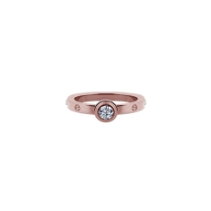 Love Solitaire Ring 14K Rose Gold Plate
