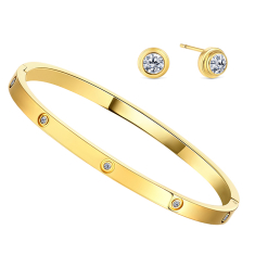 Love Bangle with Small Crystals and Love Stud Earrings in Yellow Gold