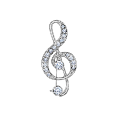 Music Note Brooch with Crystals