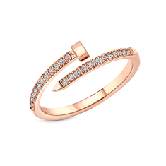 Nail ring in rose gold plating size 6