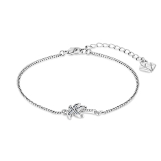 Palm Tree Bracelet in Rhodium Plating