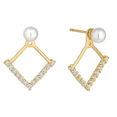 Pearl Rhombus Earrings in Gold Plating