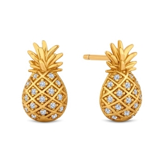 Pineapple Earrings in Gold Plating