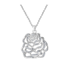 Rose Pendant with Crystals