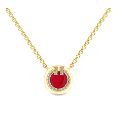 Round Pendant Small with Red enamel in yellow gold plating