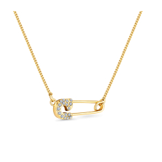 Safety pin pendant in gold plating with clear crystals