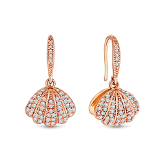 Shell earrings with hidden pearl and crystals in rose gold plating