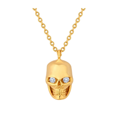 Skull Pendant in Gold with Crystals