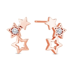Starry Stud Earrings in Rose Gold Plating