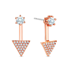 Triangular drop earrings in rose gold plating