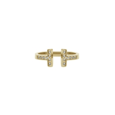T Ring in Yellow Gold Plate