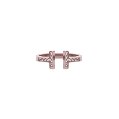 T Ring in Rose Gold Plate