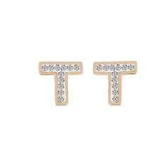T Stud Earring Yellow Gold