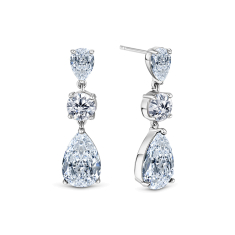 Vintage drop earrings in rhodium plating and clear crystals