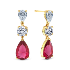 Vintage drop earrings in rose gold with red crystal