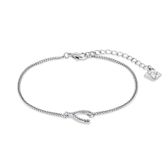 Wishbone Bracelet in Rhodium Plating