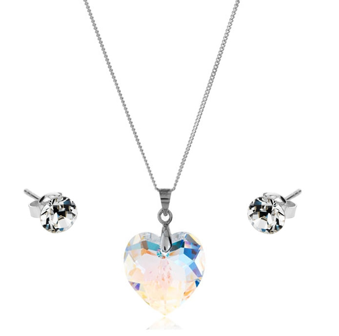 Small Heart Pendant (AB) and Solo Stud Earrings Set