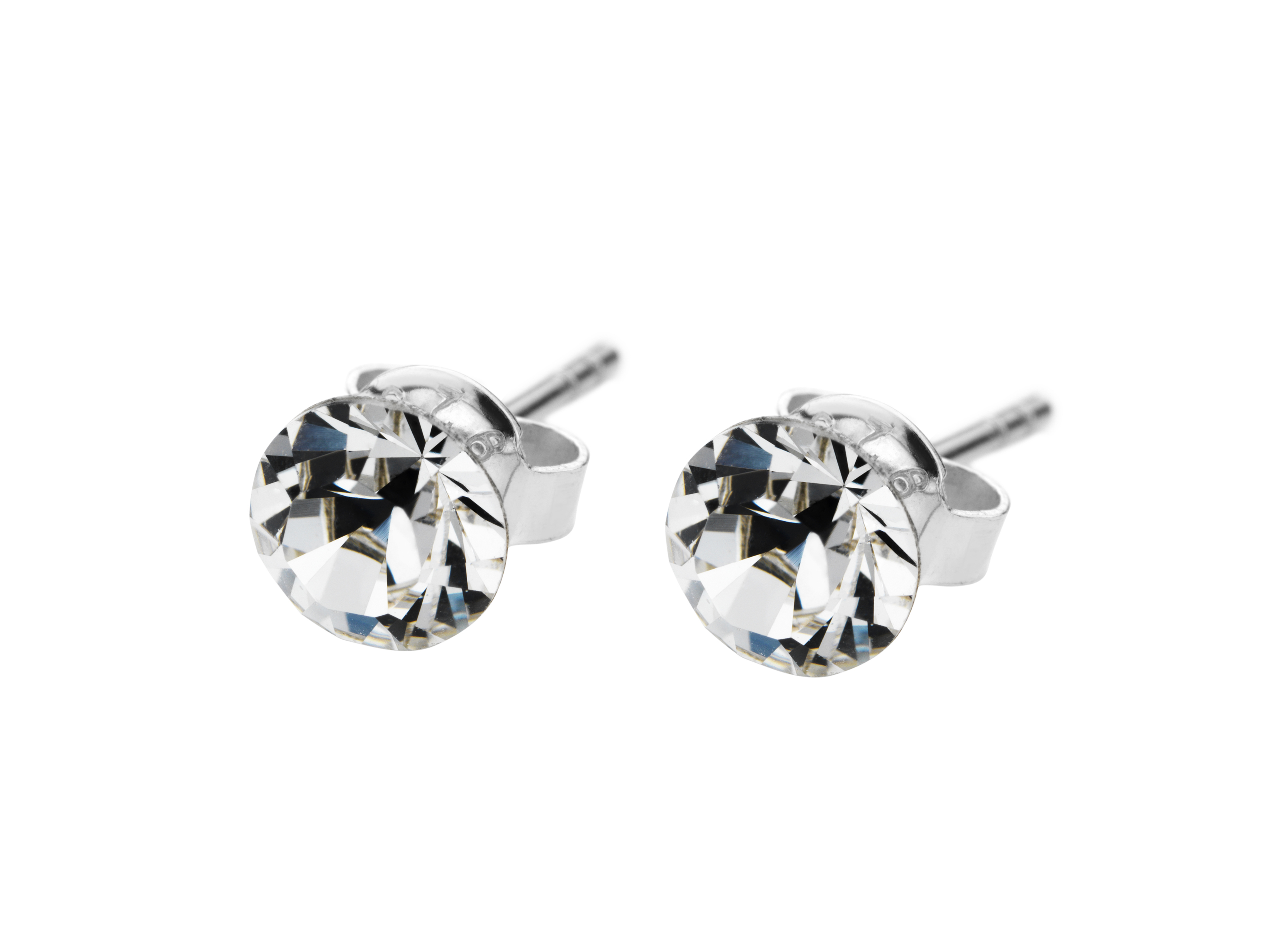 Solo Stud Earrings, White Gold Plated and Made with Swarovski Elements
